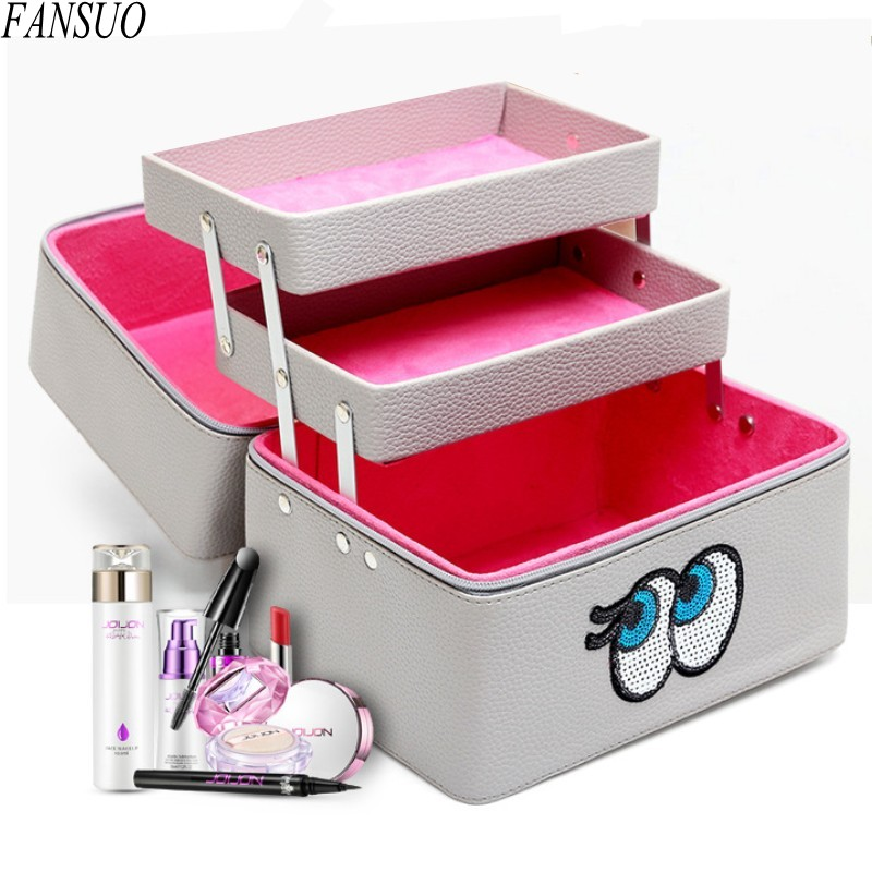 Women Fashion Travel Portable Waterproof Large Capacity Three Layers Beautician Profession Cosmetic Organizer Makeup Toolbox Bag<br>