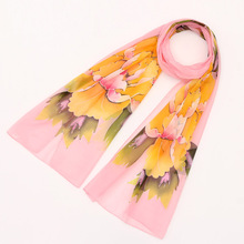 Brand 2016 Casual Woman Flower Designer Scarf Fancy Girl Satin Chffon Cape Stole Apparel Bandana Soft Noble Poncho Scarves(China)