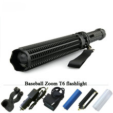 powerful led flashlight Zoom CREE XML T6 self defense lanterna long Baseball Bat waterproof torch linternas18650 electric torch(China)