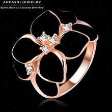 ANFASNI Top Quality White Enamel Ring Rose Golden Color Flower Ring Made With Genuine SWA Stellux Austrian Crystal Ri-HQ1006-A