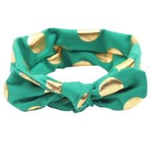 Cute Headband Cotton Headband Knotted Knit Gold Dots Head Wraps Bow Headband Hair Accessories LM58