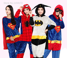 Halloween Party Cosplay Costume Adult Onesies Avengers Batman/Iron man/Super-man/Captain America Hero Costumes Pajamas Sleepwear(China)