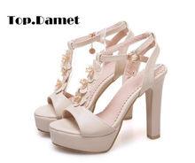 74e57856f2c Damet Women Summer High Heel Thong Sandals Ankle Strap Shoes Buckle Strap  Elegant Woman Platform Sandal Plus Size