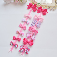 6pcs/set Pink hair clip for Baby girls Princess Hello kitty hair accessories Ribbon bows Children Hairpins Cartoon Hair clips