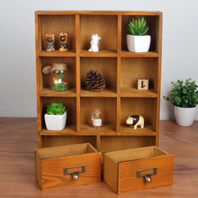 1PC Zakka wood drawer cabinets wooden lockers hanging closet retro wooden display storage box 33x9.5x42cm JL 0942
