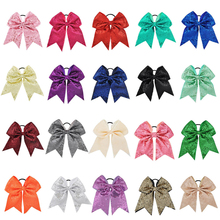 Buy 8 inch Large Big Sequin Cheer Bows Elastic Hair Bands Grosgrain Ribbon Cheerleading kid Girl Hair Accessories Boutique for $1.38 in AliExpress store