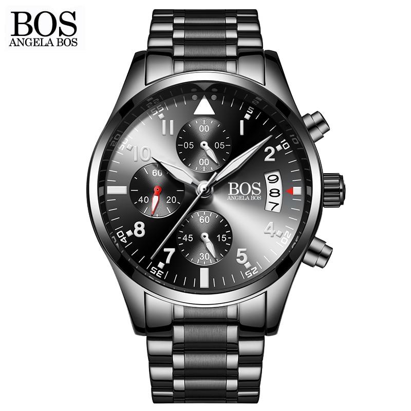 ANGELA BOS Top Luxury Brand Chronograph Timer Fashion Men Quartz-watch Luminous Calendar Date Stainless Steel Mens Watches <br>