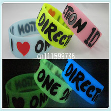 25pcs/lot Glow in the Dark I LOVE ONE DIRECTION Wristband 1D Bracelet,3colors,promotion gift,silicone bracelet,free shipping(China)