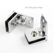 Free shipping zinc alloy glass hinge, open hole glass door cabinet, wine cabinet hinge, upper and lower hinge(China)