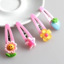 2017 5Pcs/Set Hair Snap Clip Cartoon Pattern Barrettes Accessories For Infants Girls OCT31_40(China)