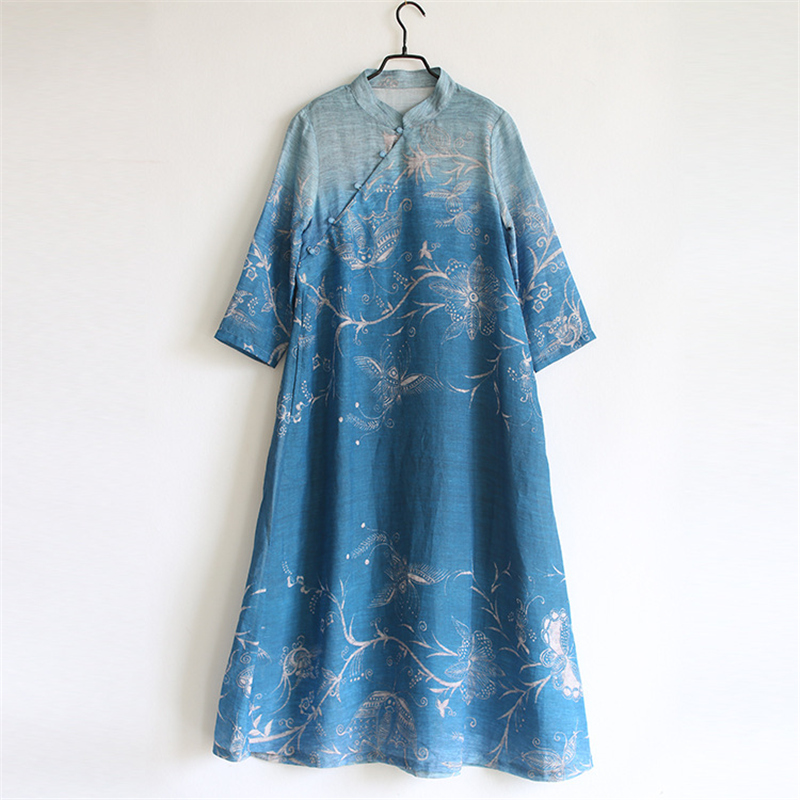 Johnature Stand Blue Women Dresses Print Floral Cheongsam 2019 Autumn New Button Vintage A-Line Women Cloths Ramie Maxi Dresses