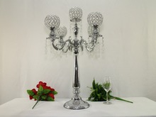 76cm height 5-arms metal candelabras with crystal pendats, shiny silver finish wedding candle holder wedding supply(China)