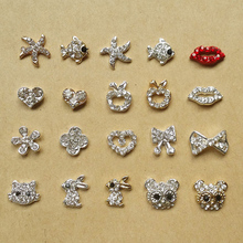 Glitter Rhinestone Nail Art Design Popular Gallery Gold Silver Animal Lips Sea Star Pattern Alloy Nail Jewelry 10pcs NP131(China)