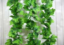 240cm 66 leaf Long Artificial Plants Green Ivy Leaves Artificial Grape Vine Fake Foliage Leaves Home Wedding Decoration(China)