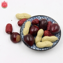 10pcs Red Dates Peanut Chestnut Artificial Flowers For Wedding Party Decoration DIY Handmade Wreath Simulation Fake Craft Flower