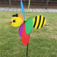 Colorful 3D Insect Large Animal Bee Ladybug Windmill Wind Spinner Whirligig Yard Garden Outdoor Classic Toys Drop shipping(China)