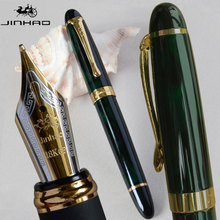 NEW JINHAO X450 DARK GREEN AND GOLDEN FOUNTAIN PEN 18 KGP 0.7mm BROAD NIB PURPLE WINE BLUE RED 21 COLORS AND INK JINHAO 450(China)