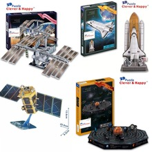 Candice guo 3D puzzle DIY toy paper building assemble solar system space station satellite model kompsat-2 kid birthday gift 1pc(China)