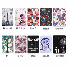 "Luxury Tri-foldings Print Painting Stand PU Leather Case Cover For Amazon Kindle Fire HD 7 2017 7""Tablet"