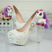 2017 White Pearl Wedding Shoes Horse/Pony Figurine Bridal Dress Shoes Handmade Ceremony Party Prom Pumps Plus Size 45