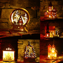 1pcs Hanging Ornaments Holiday Decor LED Light Wooden House Ornament Christmas Tree Xmas Holiday Cozy Decor For Home 5 Styles(China)