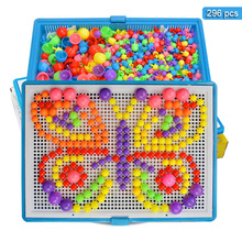 296Pcs Mushroom Nail Kit Set Baby Puzzle Toys 3D Puzzle Blocks Toy For Children Composite Intellectual Educational Toys(China)