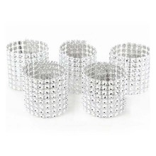 100 Pcs\lot European Style Handmade Napkin Ring Plastic Rhinestone Wrap Napkin Buckle For Hotel Home Decoration Wedding Supplies(China)