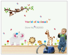 "Cute 100x160cm (40""x63"") AY9052 World of Animal Wall Stickers African Jungle Elephant Monkey Lion Murals Tree Gifts Giant Size"