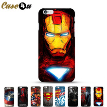 Famous Ironman Marvel Avengers Superhero Hard Phone Case For Coque iPhone 5 5SE 6 6S 7 plus iphone7 Case Batman Spiderman Fundas