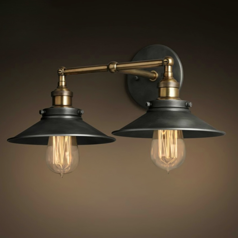 Modern Vintage Loft Metal Double Heads Wall Light Retro Brass Wall Lamp Country Style E27 Edison Sconce Lamp Fixtures 110V/220V<br>