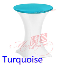Turquoise colour spandex top cover for round cocktail lycra tablecloth wedding banquet and party cocktail table decoration sale