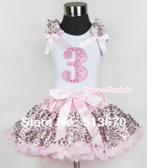 White Tank Top 3rd Sparkle Light Pink Birthday Number with Light Pink Leopard Ruffles Bow Light Pink Leopard Pettiskirt MAMG550<br>