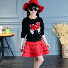 2017 New Baby Girl Sets Girls Minnie Mouse Clothing Set Hollow T shirts + Skirt Children 2pcs Suit Retail