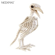 New Year Crazy Bone Skeleton Raven 100% Plastic Animal Skeleton Bones Horror Christmas Prop Bird Crow Skeleton Decoration(China)