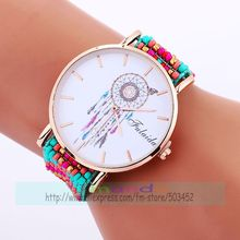 100pcs/lot fulaida dream catcher gold case beaded watch for women exclusive style lady warp quartz elegance watch wholesale(China)