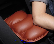 Brand New Brown Car SUV Interior Center Armrest Console Box Soft Pad Cover Cushion PU Mat Free Shipping