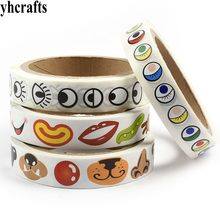 1 Roll(1000PCS)/LOT,1.4-1.6cm different shape black eye stickers in paper roll Eye nose mouth stickers Craft material DIY tools(China)