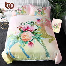BeddingOutlet Shining Unicorn Bedding Set Queen Flower Leaf Duvet Cover Girls Floral Home Textiles Pink Bedspreads 3pcs Bed Set(China)