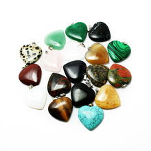 New Charms 25mm Assorted Crystal Natural Synthetic Stone Gem stone Fashion Heart Jewelry Pendants for DIY Necklace BTB693(China)