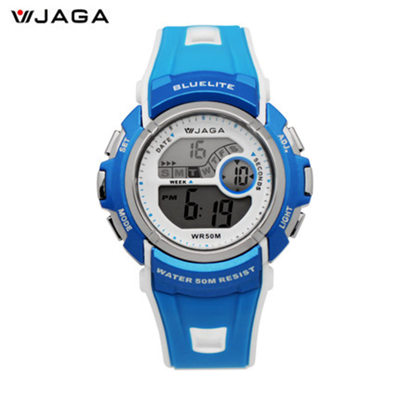 JAGA Movement Waterproof Female Watch Student Couple Contrast Candy Colors Spell Color Electronic Watches Bracelet Watch M688<br>