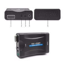 VGA to Scart Video Converter Scaler Switcher Overscan Underscan Adapter for PC Computer Projector for NTSC PAL SECAM TV