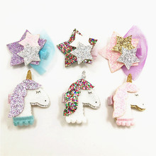 2pcs/lot Glitter Black Unicorn Hair Clip Set with Sparkly Star Hair Barrettes Tulle Pink Hairpin Girls Purple Fashion Hair Grips(China)