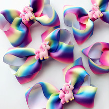 NEW 4.7inch Rainbow Boutique Grosgrain bow with cartoon Unicorn accessories Ribbon Printed drill Rainbow clips hair accessories