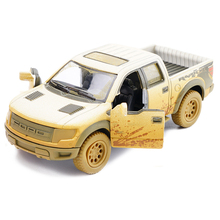 1:46 Ford F150 Raptor Pickup Truck Muddy Version Car Diecast Metal Model With Pull Back For Baby Gifts Toys Free Shipping(China)