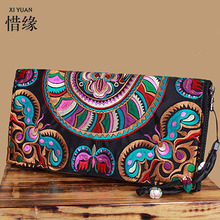 XIYUAN BRAND New style women wallets Yunnan embroidered ethnic characteristics wallet purse girl long clutch hand bags for money(China)