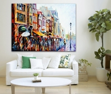 100% Hand-painted European Cities Palette Knife Painting Netherlands Amsterdam Architecture Picture for Home Office Wall Decor