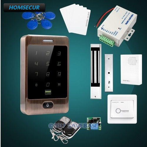 HOMSECUR IP67 Fully-Potted Red Bronze Access Control Kit +180KG Waterproof Magnetic Lock(China)