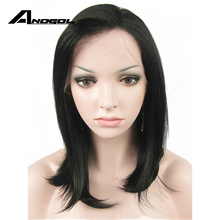 Anogol 1# Brown Natural Glueless Medium Straight High Temperature Heat Resistant Fiber Synthetic Lace Front Wig For Women(China)
