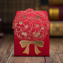 2017 New wishmade brand candy box red flower gold color bow wedding favor box 50pcs/lot