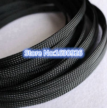 free shipping 20m Black 10mm Diameter Wire Protecting PET Nylon Braided Cable Sleeve